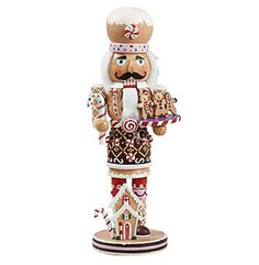 The Kurt Adler Gingerbread Nutcracker is adorned with candy decorations and a small gingerbread house. Buy a Christmas nutcracker at House of Holiday. Nutcracker Christmas, Christmas Gingerbread, Christmas Home, Christmas Ornaments, Christmas Ideas, Gingerbread Houses, Merry Christmas, Christmas Crafts, White Christmas