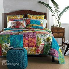 High Quality Flower Squares Patchwork Pattern Bed in a Bag