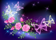 Vector of 'Glowing transparent flowers and butterfly'