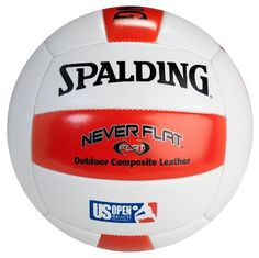 Spalding Never Flat Composite Red/White Volleyball by Spalding. $16.86. Rule the sand with the Spalding Never Flat Composite Outdoor Volleyball! Featuring Never Flat technology, this beach volleyball is designed to remain inflated up to 10 times longer than normal balls. It is ideal for recreational outdoor play and fun on the beach!. Save 33% Off!
