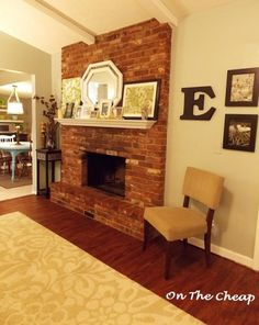 White mantel red brick fireplace    How to drill into a brick fireplace and hang a mantel.