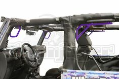Jeep JK 2007-2016, Grab Handle Kit, Front and Rear, 2 Door Only, Rigid Wire Form, Sinbad Purple. Made in the USA. Jeep Jku, Green Jeep, Jeep Models, Sinbad, Wrangler Jk, Rear Seat, Tiffany Blue, Neon Green, Military