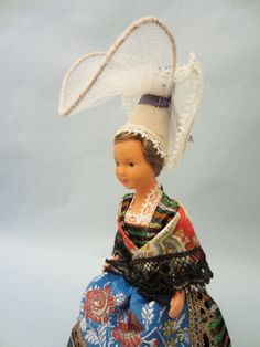 Vintage French Normandy costume doll, representing the Coutances coiffe, in the Manche, Basse-Normandie