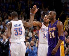 Durant & Daequan celebrate next to Kobe 2-23-12