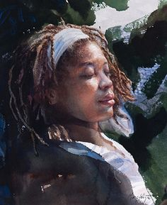 Mary Whyte {contemporary figurative art african-american female head dreadlocks deep south black woman face portrait watercolor painting} marywhyte.com