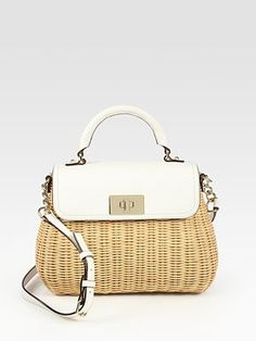 Kate Spade New York - Little Nadine Wicker & Leather Top Handle Bag