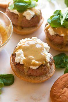 Lemon Honey Mustard Turkey Burgers with Creamy Goat Cheese - Grain ...