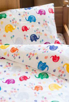 """Купить Комплект в кроватку детское постельное белье """"Слоники"""" - белый, детское постельное белье"""