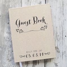 This custom wedding guestbook can be customized with your names and wedding date. Kraft style background cover lends itself to a more rustic