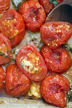 oven-roasted tomato recipe by dave lebovitz - toast day-old bread brushed with olive oil in the oven, then rub them with fresh garlic cloves while still warm. smush down a few tomatoes on it, top it with crumbled feta, and scatter fresh herbs on top. Herb Recipes, Vegetable Recipes, Vegetarian Recipes, Cooking Recipes, Healthy Recipes, Recipes Dinner, Oven Roasted Tomatoes, How To Roast Tomatoes, Oven Roasted Vegetables