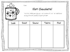 This is a activity about using January - adjectives to describe hot chocolate! Students will love having a hot chocolate party with this activity! 1st Grade Writing, Teaching Writing, Writing Activities, Winter Activities, Teaching Ideas, Teaching Grammar, Speech Activities, Class Activities, Writing Practice