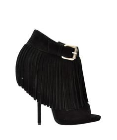 Giuseppe Zanotti Suede fringed bootie $1,380.00  Spring/Summer 2013 ankle boot spuntato in suede nera con frange. Closes with lateral zip and adjustable buckle. Heel height: 11,5 cm | Lindelepalais.com 12906