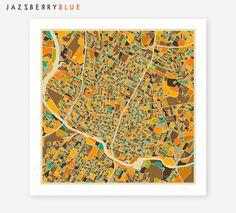 AUSTIN Texas Map Giclee Fine Art Poster Print by JazzberryBlue