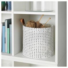 IKEA - PLUMSA, Storage basket, white, black, The plastic coating on the inside protects against moisture. Small Storage, Storage Boxes, Storage Baskets, Toy Storage, Apple Baskets, Plastic Coating, Dark Interiors, Boy Blankets, Affordable Furniture