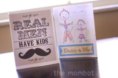 """Free printable Father's Day cards: """"Real Men Have Kids"""" and a """"Daddy & Me"""" card that kids can color and fill in 