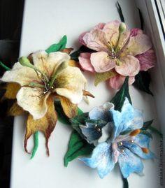 Брошь`Цветение`. войлочные брошки ручной работы,разных…
