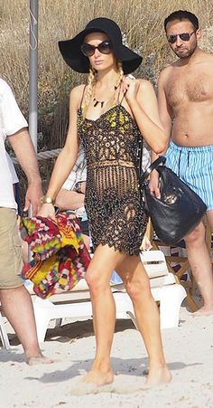 Paris Hilton, Pamela, Bikini, Crochet Top, Cover Up, Shorts, Outfit, Hair Styles, How To Wear