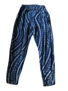 SHIBORI HAND DYED TIE-DYE PRINT PANT – BLUE SILK- Made in Japan-Vintag – NOMADCHIC