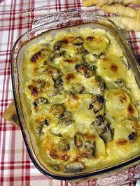 Pasticcio di patate e funghi al formaggio Veggie Side Dishes, Potato Dishes, Savoury Dishes, Greek Recipes, Italian Recipes, Soup Recipes, Antipasto, Italian Dishes, International Recipes