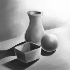 Here is fun and simple exercise to practice using value to make objects appear 3D. Draw some symmetrical vase shapes. Make sure to give them an ellipse/oval shape for the opening. Use curved, straight and zigzag lines.