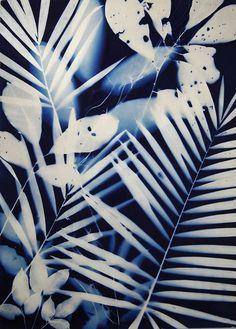 Tropical Blue x Water Printing, Printing On Fabric, Shibori, Bleu Cyan, Cyanotype Process, Sun Prints, Blue Drawings, In Natura, Plant Painting