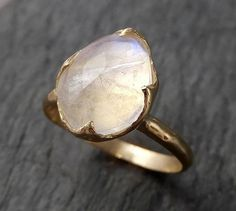 Fancy cut Moonstone Yellow Gold Ring Gemstone Solitaire recycled 14k s | by Angeline