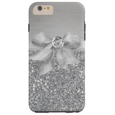 Silver Ribbon and Bling Glitter Glittery Tough iPhone 6 Plus Case