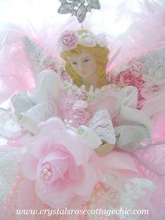 Shabby pink chic romantic rose Christmas angel tree topper