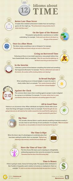 12 Popular #idioms in English about TIME. Sure, time is money and you should seek to have the time of you life. Here are some more time-related idioms that you should know. #infografias #infographic