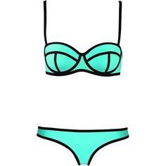 TDOLAH Maillot de Bain Femme 2 Pièces Tondeuse Bikini Néoprène Fluo... ($14) ❤ liked on Polyvore featuring swimwear, bikini, swimsuits, swim, bathing suits, sports bikini, tank bathing suits, bikini swim wear, sport bikini swimwear and swimming costumes