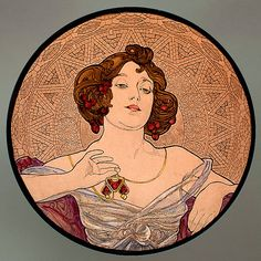 Mucha serie - Ruby. Kilnfired glass medallion. For sale at the Etsy shop of Stained Glass Elements. Mucha, Robijn, gebrandschilderd glas, Mucha glas in lood, Mucha, brandschilderen, Mucha brandschilderen, Mucha medallion, glas ornament