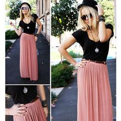 Loving the simple color block of the pink maxi skirt and the black tee shirt! Such a simple outfit, but SO stylish.nick the hat! Maxi Skirt Outfits, Dress Skirt, Pleated Maxi Skirts, Skirt Belt, Mode Lookbook, Look Fashion, Womens Fashion, Fashion Black, Street Fashion