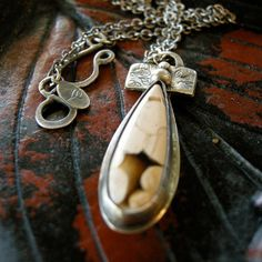 Sterling silver peanut wood cabochon necklace by coldfeetjewelry, $65.00