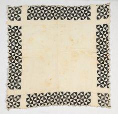 Mourning handkerchief, first quarter 20th century , American, Linen