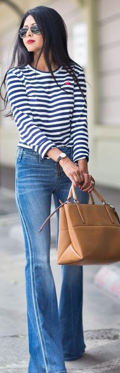 Ron Herman Blue Ultra Soft Denim Flared Legs Jeans by Walk In Wanderland