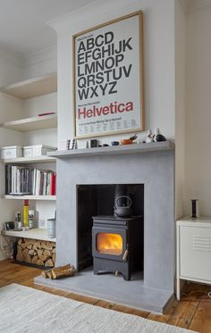 Beautiful mantle, hearth and surround made from GFRC for a family home. Concrete Bar, Concrete Table Top, Concrete Design, Polished Concrete, Home Fireplace, Brick Fireplace, Mantle, Home And Family, Home Appliances