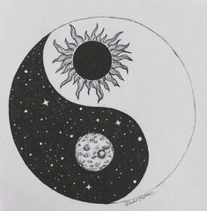 drawing art cute Black and White hipster vintage indie b&w moon Grunge draw dark wow sun ying yang arte artistic pale black and grey Ying Y Yang, Yin Yang Art, Ying Yang Symbol, Yin Yang Tattoos, Tribal Tattoos, Tableau Double Face, Flower Tattoos, Small Tattoos, Butterfly Tattoos