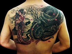 Chronic Ink Tattoos, Toronto Tattoo shop - Geisha and dragon half back tattoo