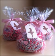 Princess Party Favors...would be such an easy DIY idea! Just add a princess crown, a fairy wand, and simple little things like large costume jewelry pieces (earrings, rings), and then candy or chapstick!
