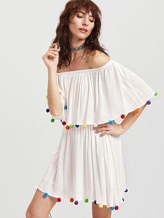 Vestido con hombro al aire ribete con pompones y volantes - blanco -Spanish SheIn(Sheinside)