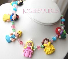 SIX Princess Necklace  boutique polymer clay by jogeesclaygarden I cant tell you how beautiful this is all handmade with no molds.I wish I was this talented.