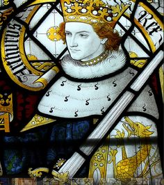 King Arthur in stained glass by Sir Ninian Comper at St. Antique Windows, Gillingham, Mary Magdalene, King Arthur, Stained Glass, Medieval, English, Antiques, Painting