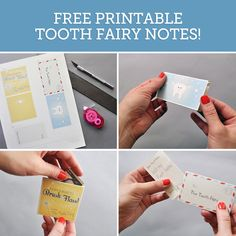 Here's a fun tooth fairy idea for parents and grandparents! All you need are a few basic craft sup­plies and this free down­load­able template! http://www.handmadecharlotte.com/free-printable-tooth-fairy-notes/