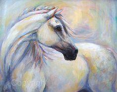 Wall Art-White Horse Artwork-Horse Fine Art-On Canvas-'Heavenly Horse'