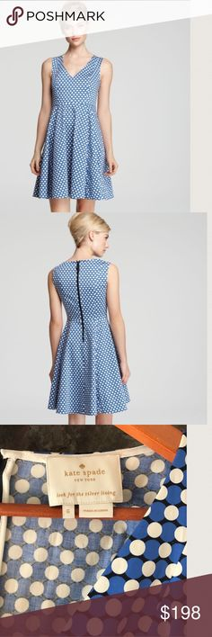 """KATE SPADEKELLY BENAY DOT DRESS This is a stunning V-neck back exposed zipper dress. This is Kate Spade's Kelly dress office to special occasion ready. POCKETS 97% cotton 3% elastane. worn only once. Measurements are taken flat bust 16 1/2"""" waist 14"""" hips free, length 40""""KATE SPADEKELLY BENAY DOT DRESS kate spade Dresses Midi"""