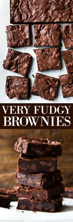 Seriously fudgy homemade brownies that are not only super simple, but also rich, moist, soft, and dense! Recipe on sallysbakingaddiction.com
