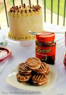 Sky High Reese Peanut Butter Chocolate Cake and Reese peanut butter sandwich cookies Peanut Butter Sandwich Cookies, Reeses Peanut Butter, Hershey Chocolate, Chocolate Cake, Sweet Desserts, Dessert Recipes, Pudding Frosting, Hershey Recipes, Sky High