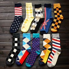 shop with colourful socks and lacy underwear  6双包邮情侣潮流男女袜子中高长筒全纯棉复古加厚款商务民族保暖