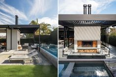 Villa gone rogue   Architecture Now Outdoor Seating Areas, Outdoor Spaces, Outdoor Decor, Villa Game, Aluminium Joinery, Sliding Screen Doors, Gone Rogue, Roof Lines, Modern Backyard