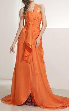 Orange A Line Princess One Shoulder Asymmetrical Chiffon Evening Dress Beading Sequins Cascading Ruffles Harry Dress HD14200